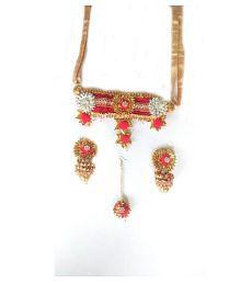 unique indian craft Handmade Gota Pati Full Jewelry Set Necklace/ Earring/ Mangtika for women /girls