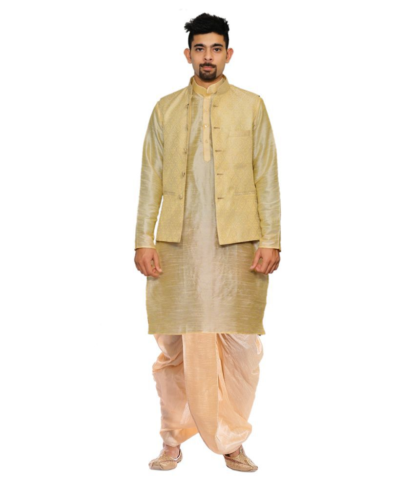 AMG Gold Silk Dhoti Kurta Set Pack of 2