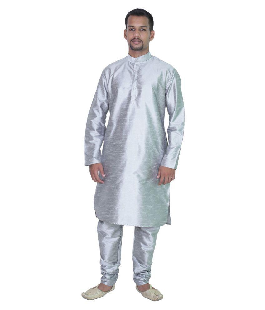 AMG Silver Silk Kurta Pyjama Set Pack of 2