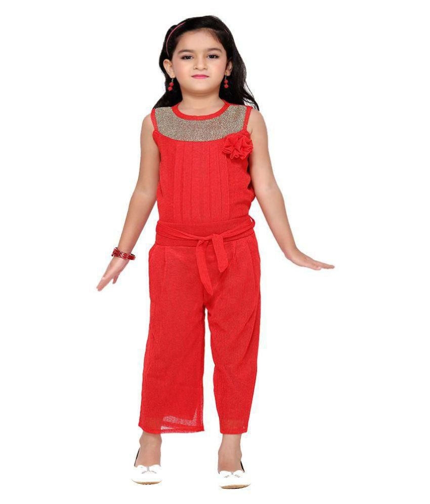 4b853fa81b71 Aarika Girl s Red Party Wear Jumpsuit - Buy Aarika Girl s Red Party Wear  Jumpsuit Online at Low Price - Snapdeal