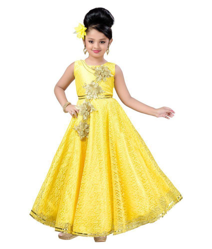 c15f0ea101b Aarika Girl s Self Design Flower Net Fabric Party Wear Ball Gown - Buy Aarika  Girl s Self Design Flower Net Fabric Party Wear Ball Gown Online at Low  Price ...