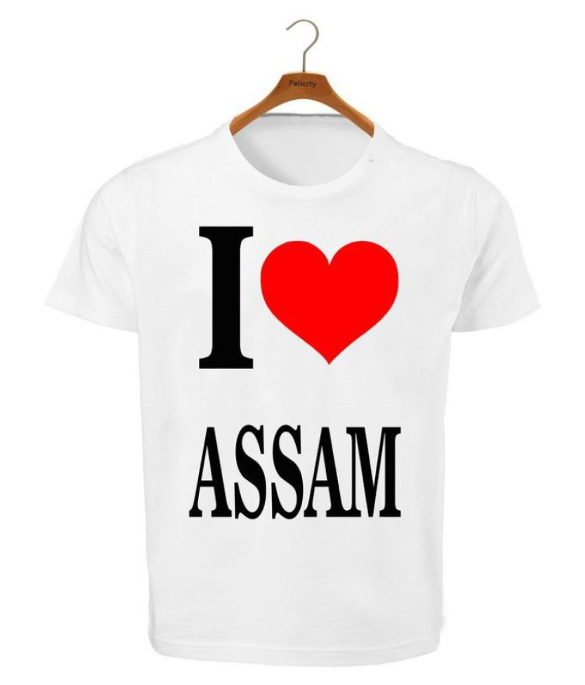 RITZEES White Dry Fit Polyester T-Shirt On I Love Assam