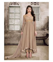 ed74fa310a Quick View. Fashion Basket Brown and Beige Georgette Unstitched Semi  Stitched Lehenga