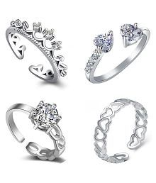 Om Jewells CZ Jewellery Combo of 4 Graceful Rhodium Plated Finger Rings\nDesigned for Girls and Women CO1000060