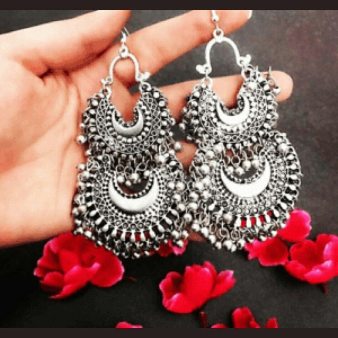 A M INTERNATIONAL Silver Oxidised Artificial Afghani Earrings Set