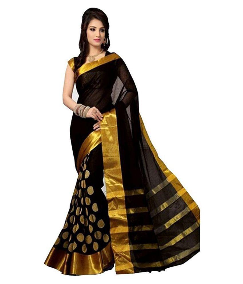 High Glitz Fashion Yellow and Brown Cotton Saree