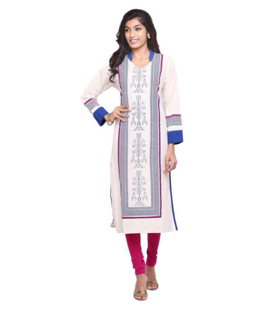 Indusdiva White Cotton Straight Kurti