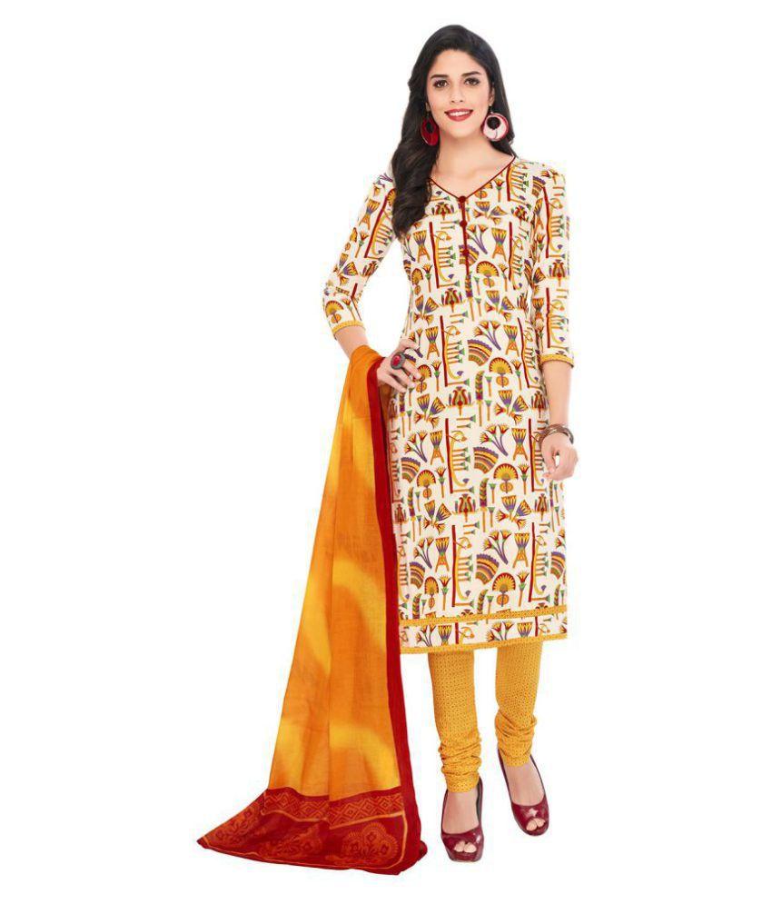 Jevi Prints Beige Cotton Dress Material