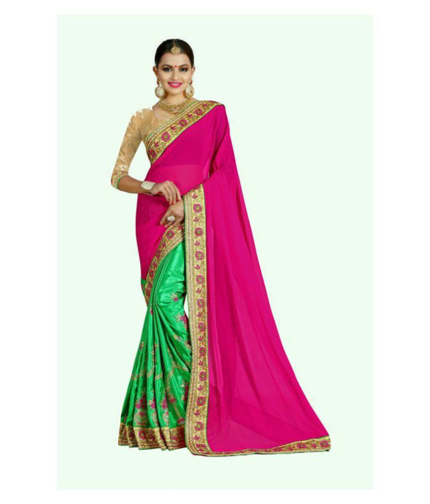 TREAD INDIA Green and Pink Georgette Saree