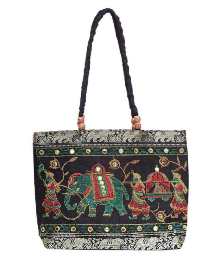 kalakriti handicrafts Black Polyster Shoulder Bag