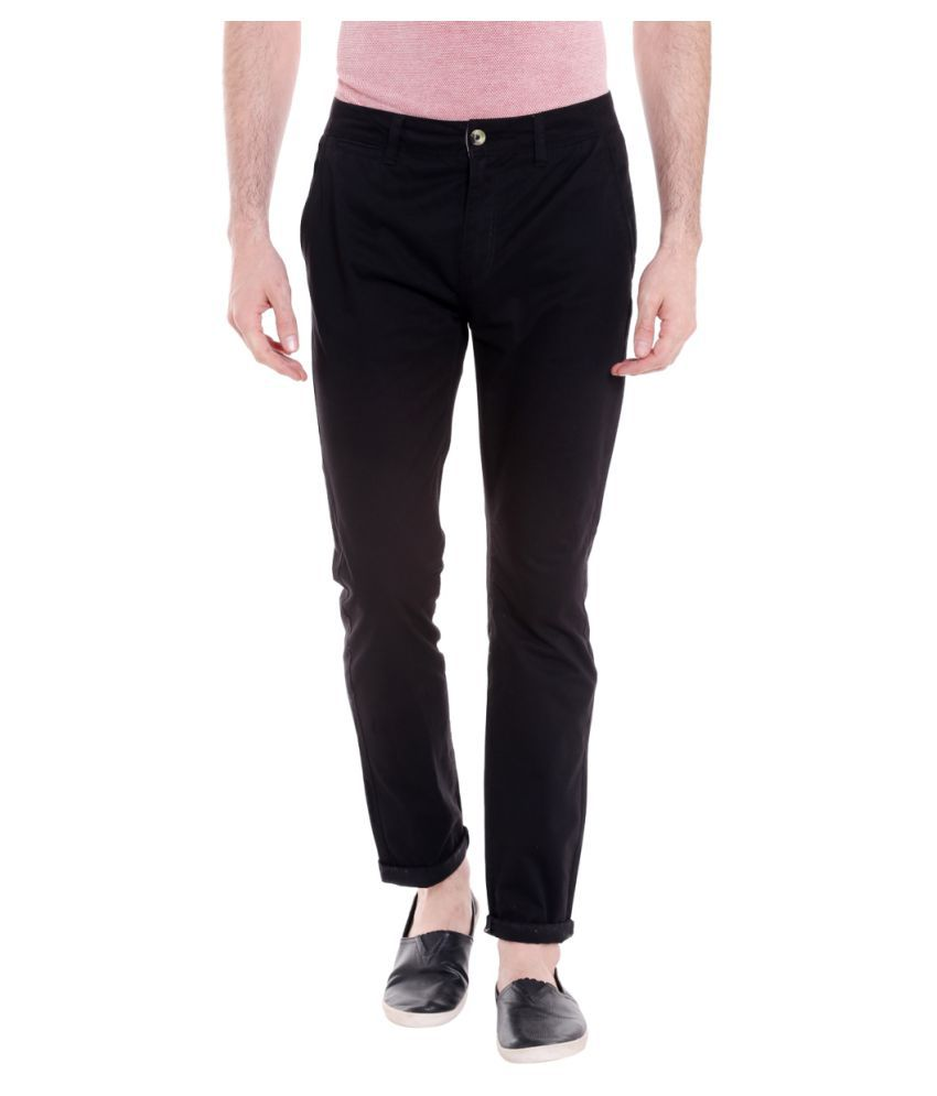 Fast n Fashion Black Slim -Fit Flat Chinos