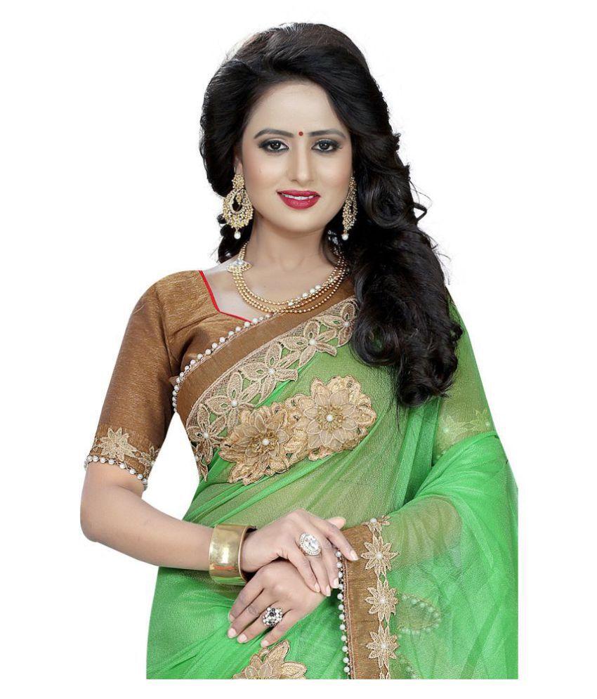 Shree sai fashion Green Lycra Saree