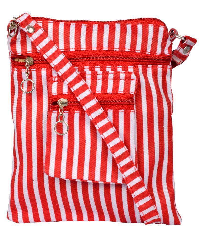 Exotique Red Polyster Sling Bag