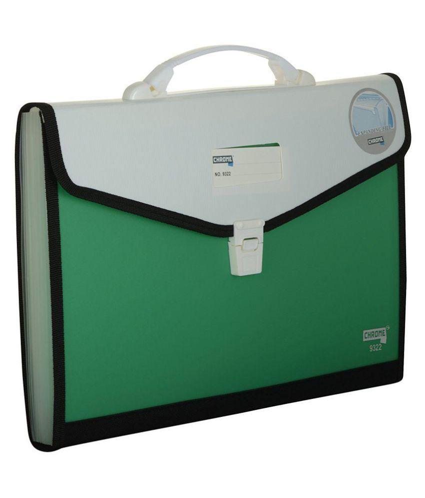Chrome 9322 Expanding File Handle & Lock - 13 Pockets (Green)