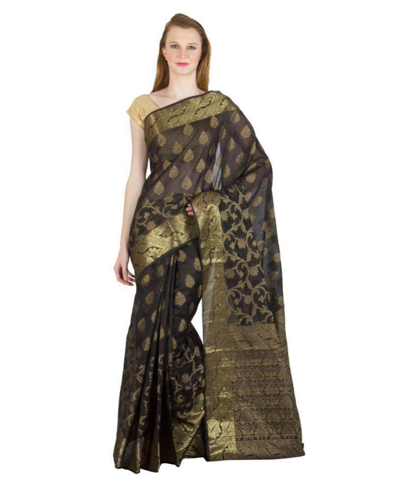 Chhabra Xclusive Black Art Silk Saree