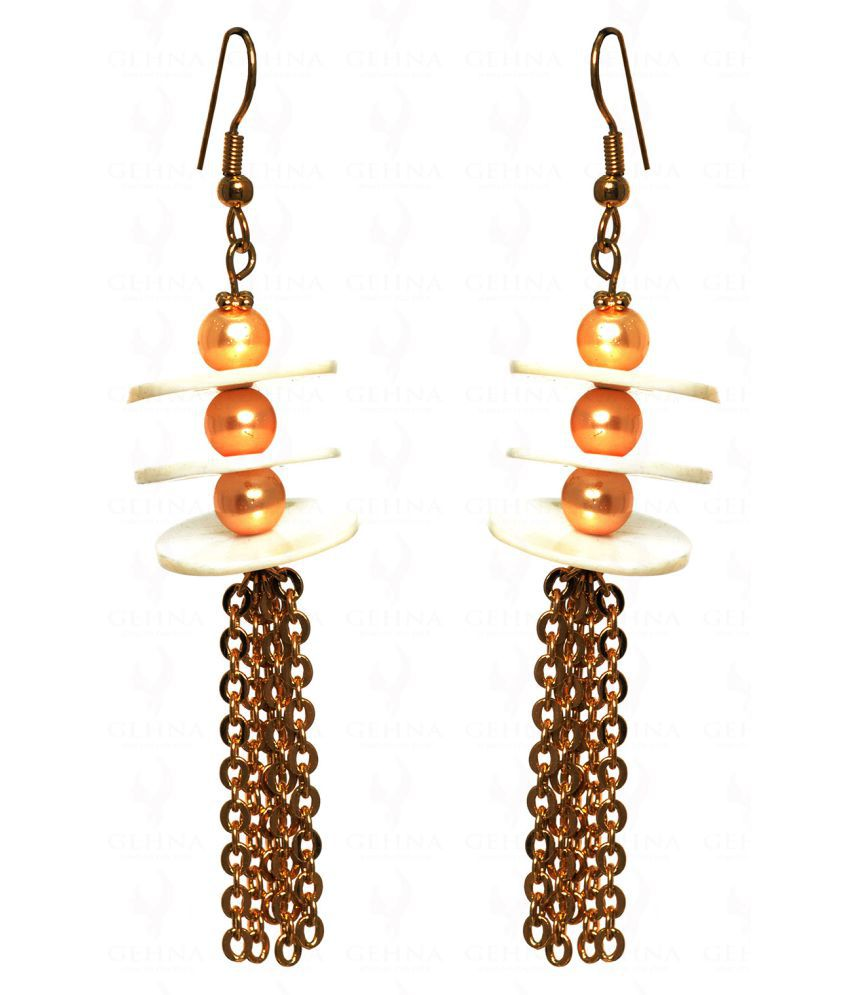 Pearl Studded Dangler Style Earrings in silver