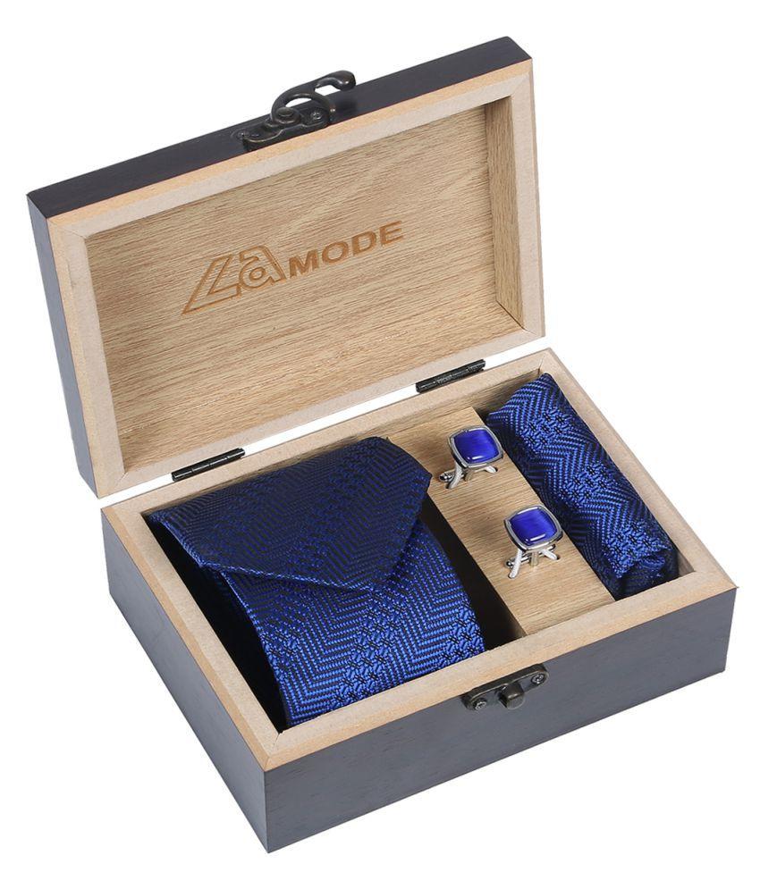 La Mode Blue Printed Micro Fiber Necktie