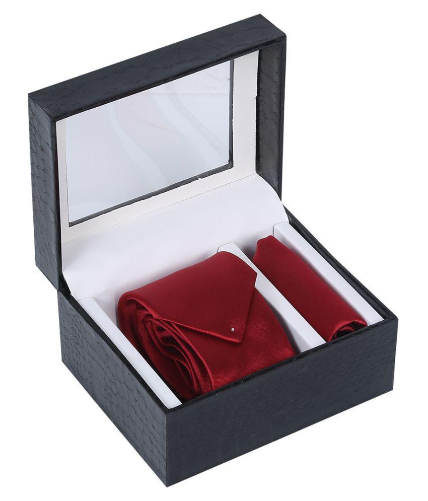 La Mode Red Printed Micro Fiber Necktie