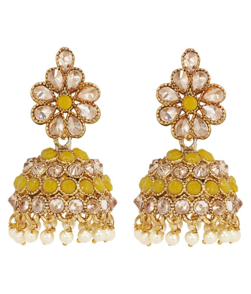 f3f67e812276c Prita's Traditional Gold Plated Partywear Yellow Colour Kundan  Jhumki/Jhumka Earrings For Women Or Girls