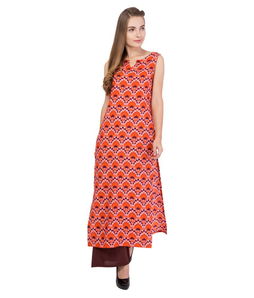Simbha Creations Orange Crepe Straight Stitched Suit