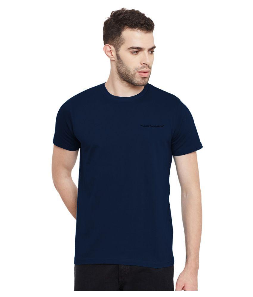 Justanned Navy Round T-Shirt