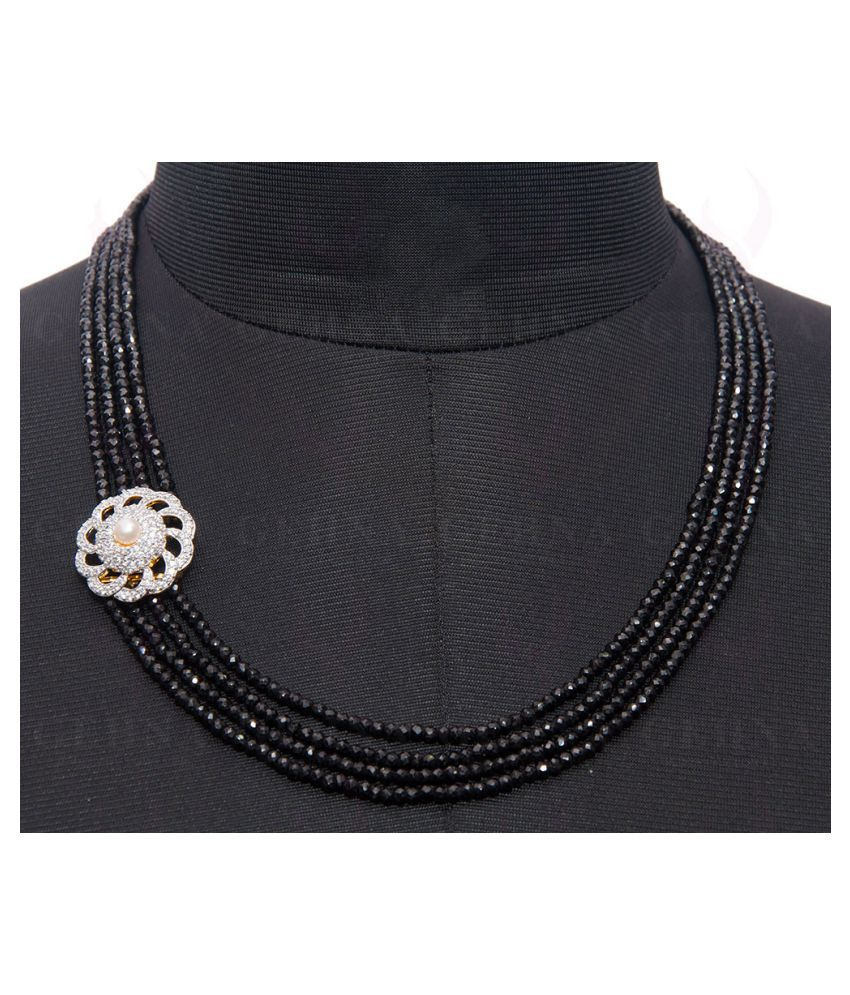 Pearl & C.Z Studded Side Pendant Beaded With Black Spinel Gemstone Beads