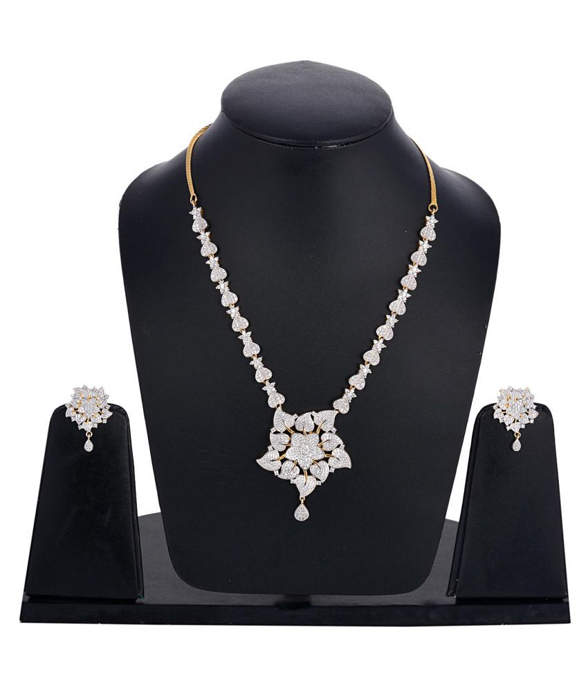 Tistabene Floral Modern Beautiful Designer Stylish Fancy Party Wear Necklace Set for Girls And Women (NS-0228)
