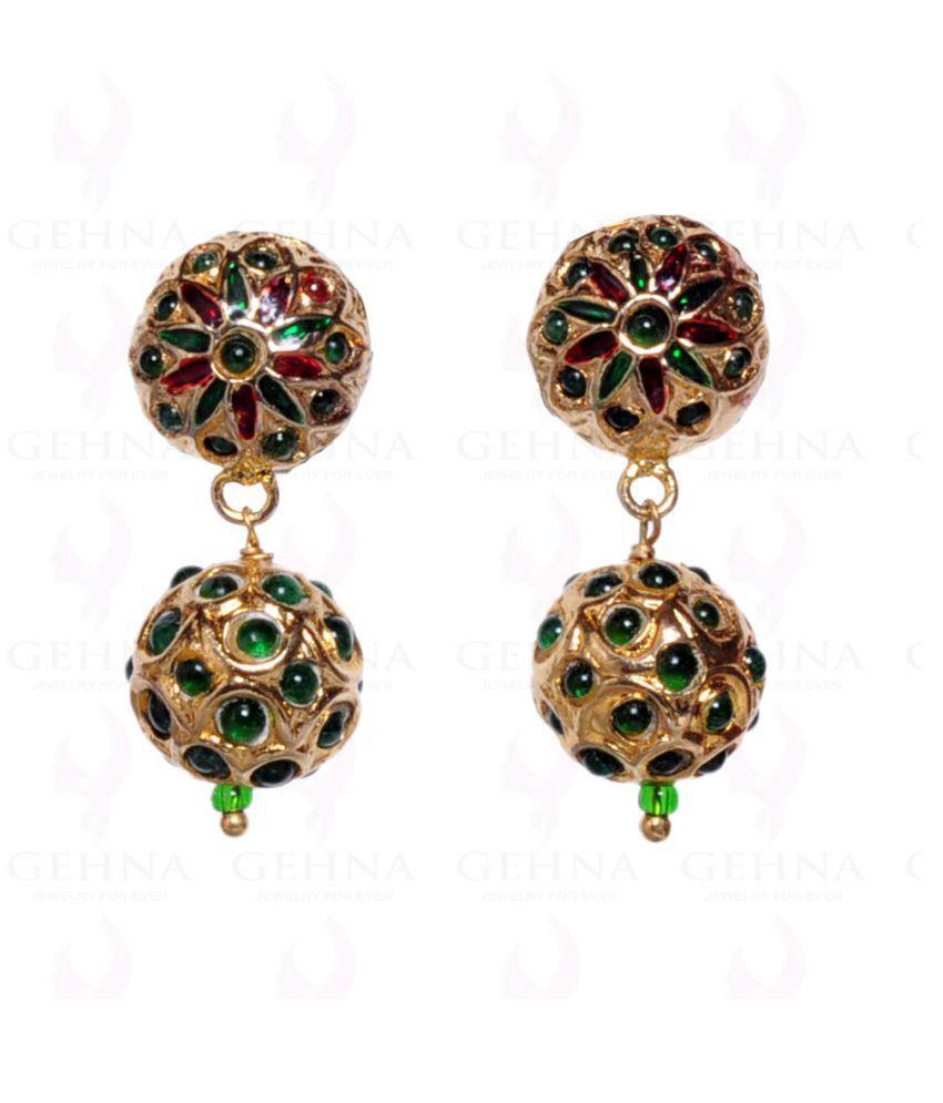 emerald color green stone studded jadau earrings