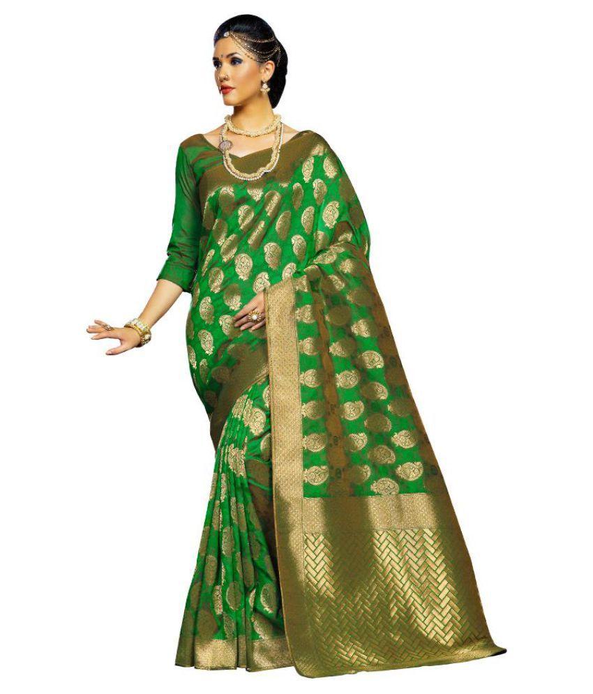 Kumaran Silks Green Art Silk Saree