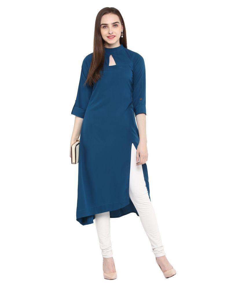 Janasya Turquoise Crepe High Low Hemline Kurti