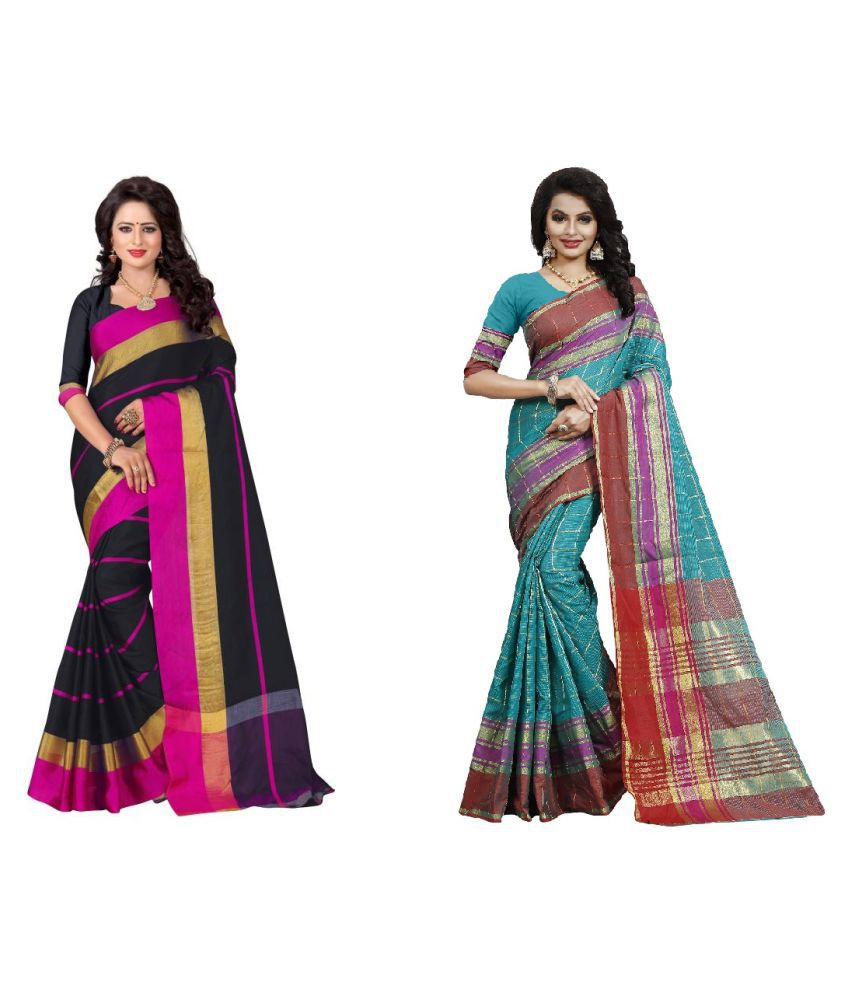 bindani studio Multicoloured Cotton Silk Saree Combos