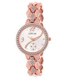LOREM LR215 Rose Gold Chronograph Pattern Diamond Studded Metal Bracelet Analog Watch For Girls & Women