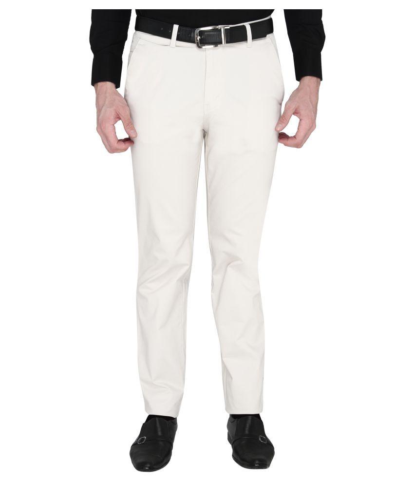 Zido Off White Slim -Fit Flat Trousers