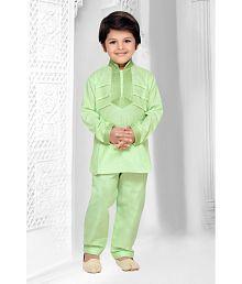 AJ Dezines Green Cotton Kurta Pajamas Set
