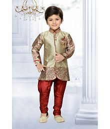 AJ Dezines Maroon Kids Sherwani and Breeches Set