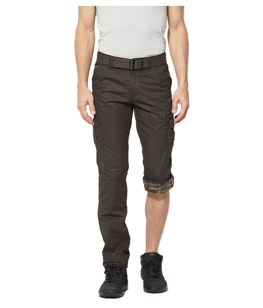 Byouth Olive Green Regular -Fit Flat Cargos