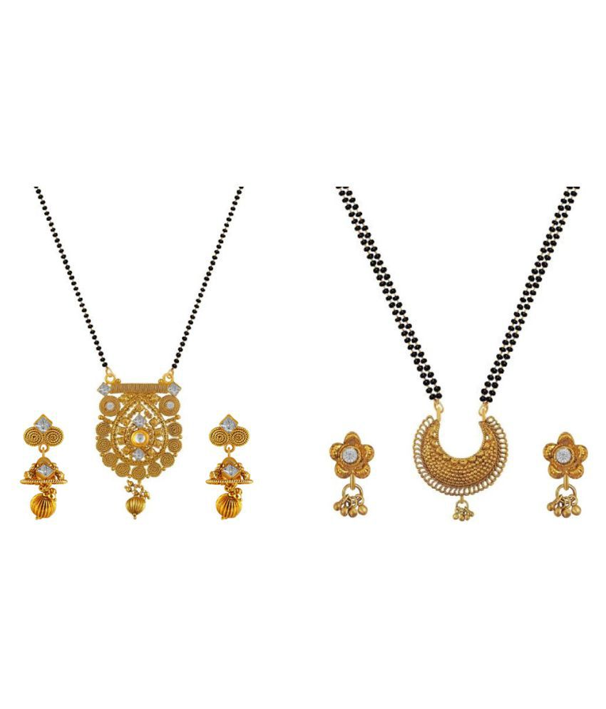 Aabhu Stylish Combo of 2 Mangalsutra with Chain and Earrings Jewellery Set for Women