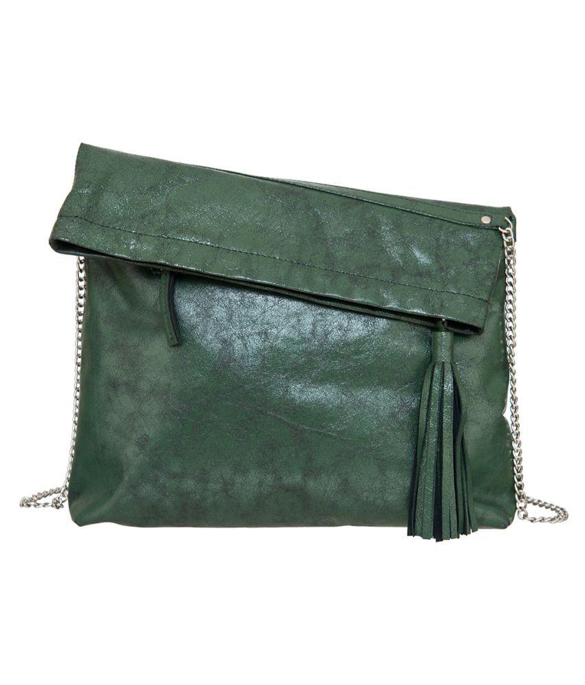 Navshi Green Pure Leather Sling Bag