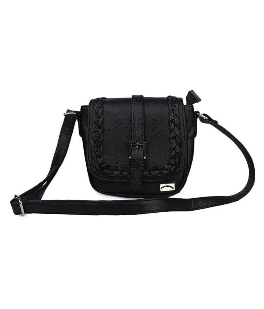 TECHNUV Black P.U. Sling Bag