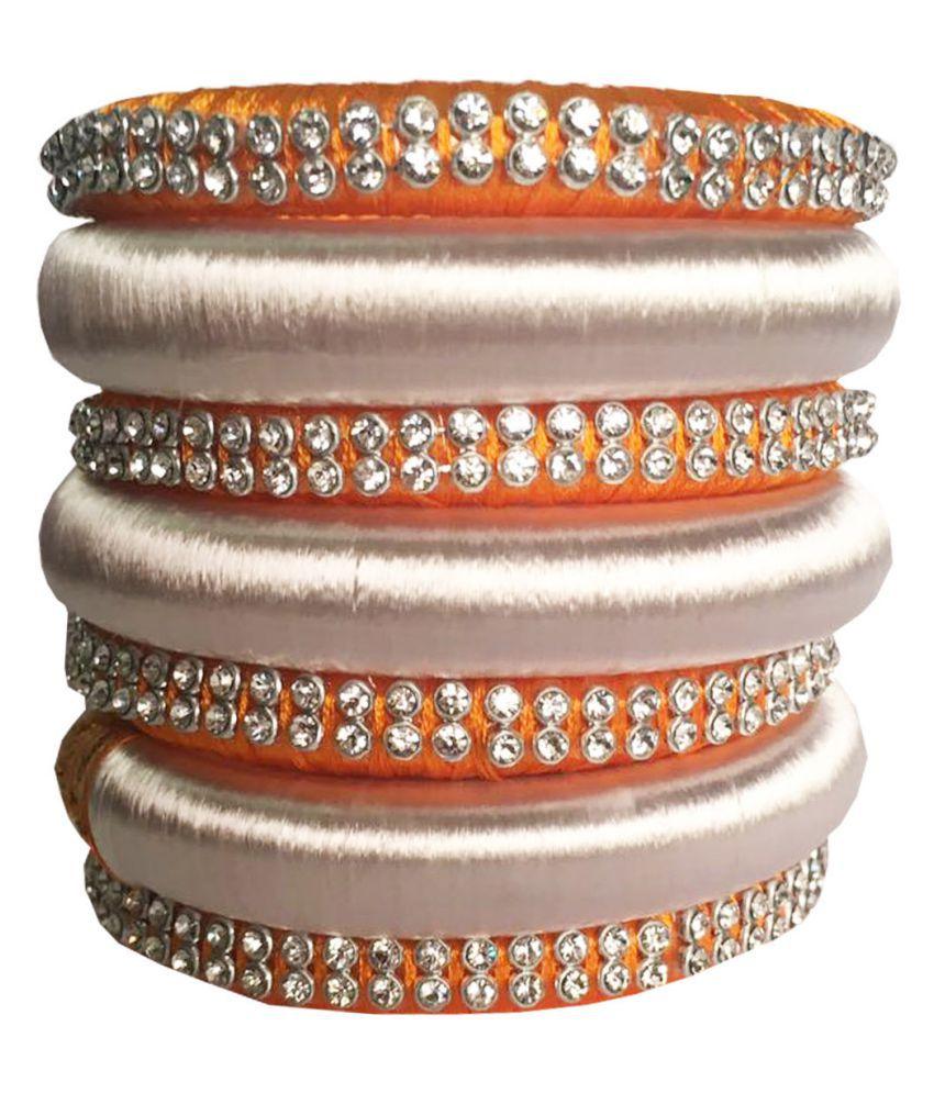 Nikush Handmade Silk Dori Plastic Bangles Set