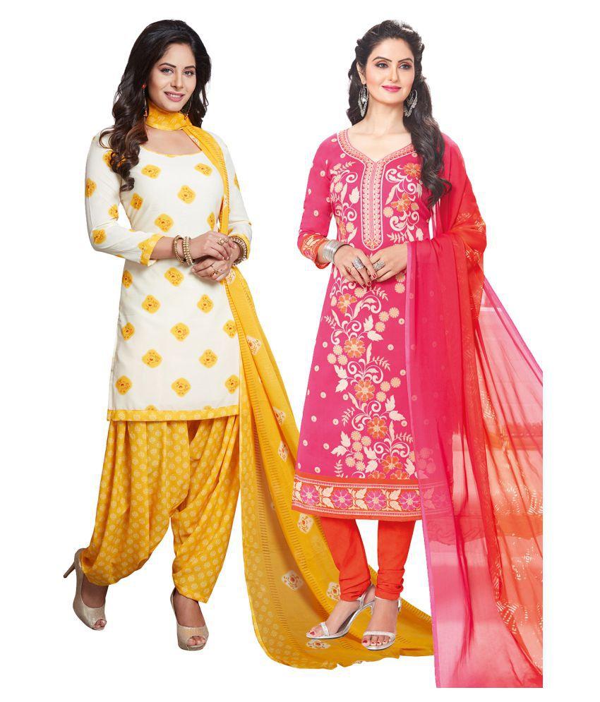 Salwar Studio Multicoloured Synthetic Dress Material