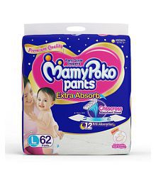 MamyPoko Pants Extra Absorb Diaper-Large Size, Pack of 62 Diapers (L-62)