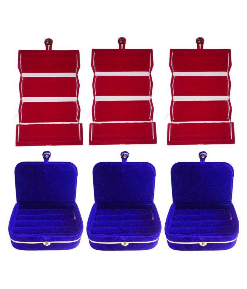Phoenixfaso Combo of 3 pcs earring folder and 3 pcs ring jewelry box