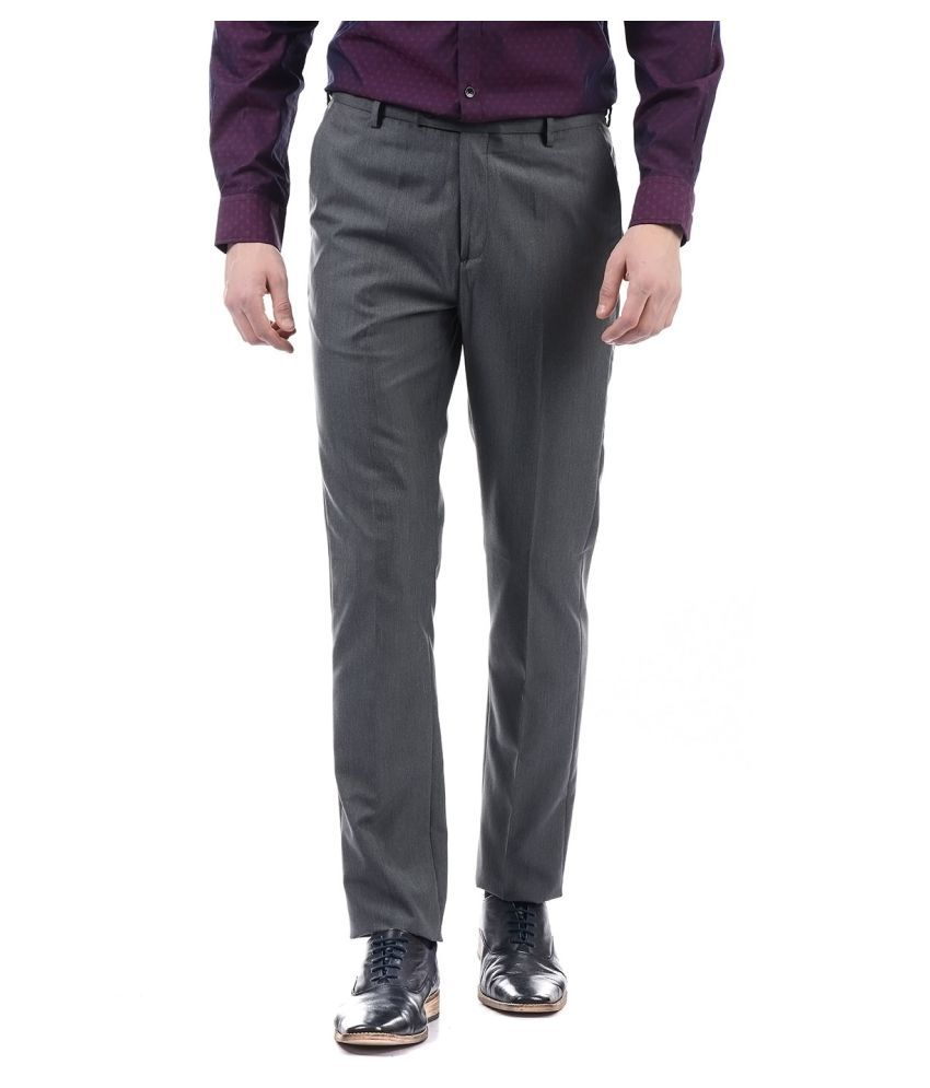 Arrow Grey Tapered -Fit Flat Trousers