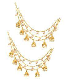 Aadita Gold Plated Long Chain Jhumki Hair chain Earrings for Women and Girls