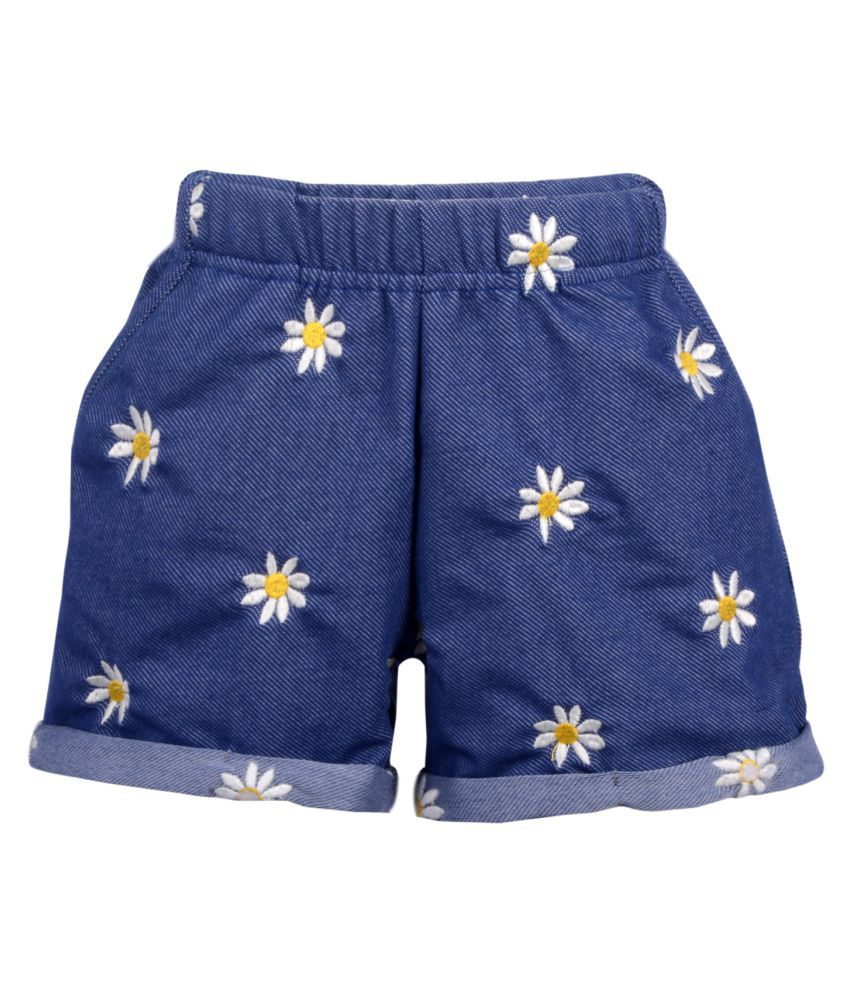 Teens Culture Girls Flower Embroidered Navy Blue Denim Shorts