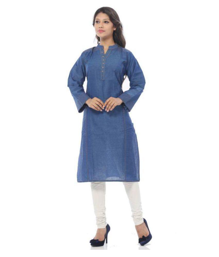 Apple Knitt Wear Blue Denim Straight Kurti