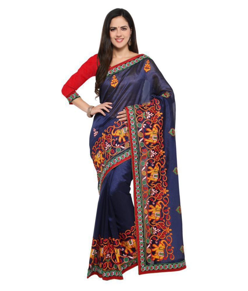 Four Seasons Red and Brown Art Silk Saree