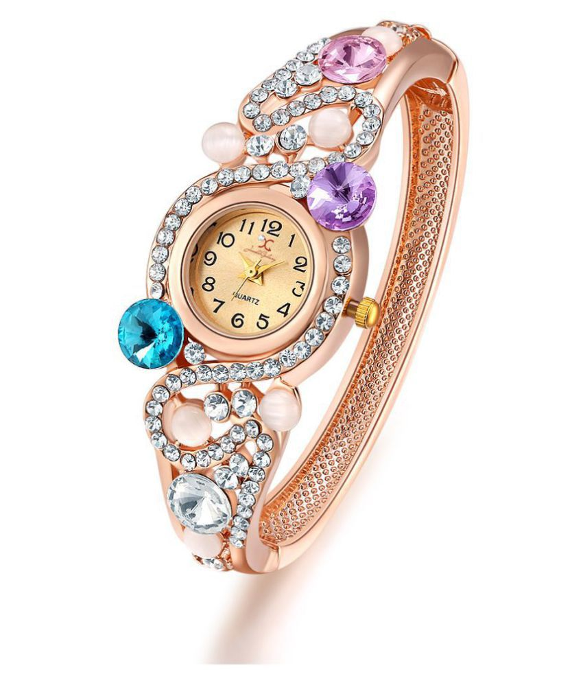 Jewels Galaxy Crystal Elements Limited Edition Elegant AD Sparkling Colors 18K Rose Gold Plated Fascinating Bracelet For Women/Girls