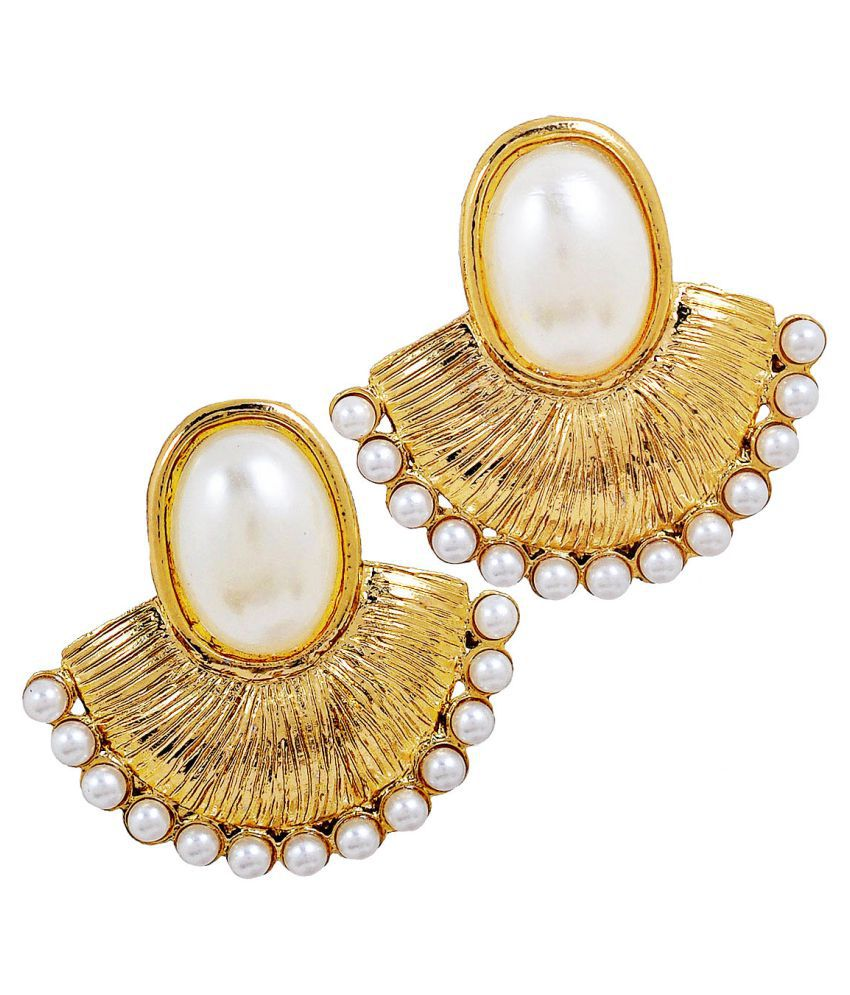 Maayra Women Earrings Wedding Copper Chand Bali White Ethnic Designer